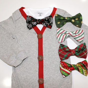Christmas Cardigan with Bowtie for baby boys. Pick a Bow Tie. Chevron gingham stripes red green gray