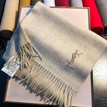 Perfect YSL Yves Saint Laurent Women Wool Scarf Shawl Silk Scar