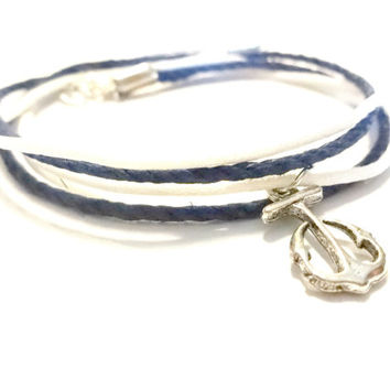 Nautical Anklet, Anchor Ankle Bracelet, Multi Strand Anklet, Summer Jewelry, Gift Under 10
