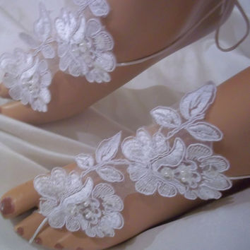 Beautiful Sexy White Lace Barefoot Sandals, White Flower Bottomless Sandals, Wedding Sandals, Beach Wedding Sandals, Lace Barefoot Sandals