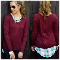Trend Setter Wine Plaid Lined Top