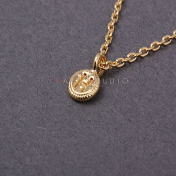 Tiny Coin Disc Initial H Necklace-Personalized Initial coin necklace-Minimalist Necklace-Personalized Necklace