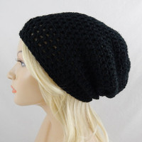 Black Slouchy Beanie Womens Crochet Slouch Hat Fall Winter Hat
