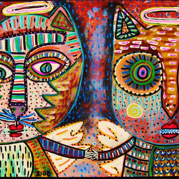 Cat & Owl Angel Friends  SILBERZWEIG by SandraSilberzweigArt