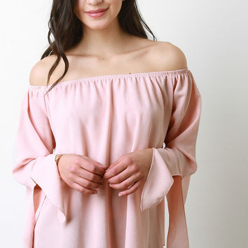 Off-The-Shoulder Chiffon Long Sleeves Top