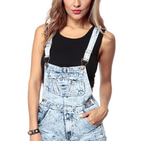 Totally 90s Acid Washed Overall Shorts