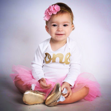One year old Outfit with baby moccasin shoes White pink Easter tutu long sleeve gold  glitter one Onesuit- Pettiskirt girls 1st Birthday outfit Christmas- girls first birthday outfit