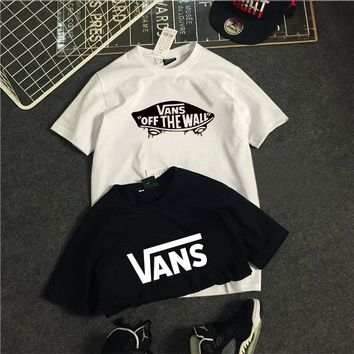 Vans short-sleeved T-shirts men's half-sleeved large-sized loose couples wearing summer bottom T-shirts