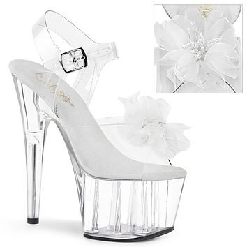 """Adore 708BFL Clear Ankle Strap Sandals Beaded Flower Design 7"""" High Heels - White"""