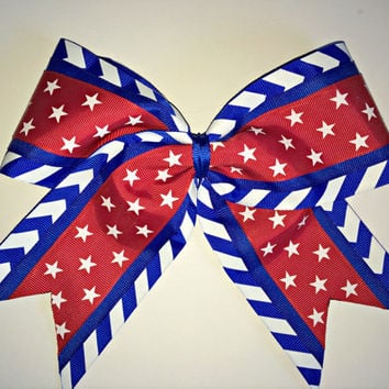 The Liberty - Patriotic Red & White Stars on Blue Chevron Cheer Bow