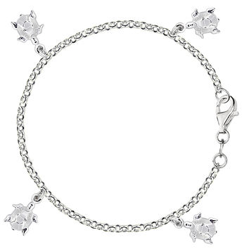 Dangling Turtles Cable Chain Anklet In Sterling Silver (9, 10 And 11 Inches Lenght)