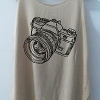 We Love Camera Tank Style Vintage Shirt Sketch Shirt Tank Top unisex T-Shirt Tunic Top  Size S,M,L