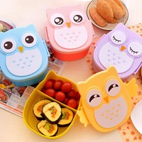 1050ml Cartoon Owl Meal Box Food Fruit Storage Container Portable Bento Box Food-safe Food Picnic Container for Children Gifts