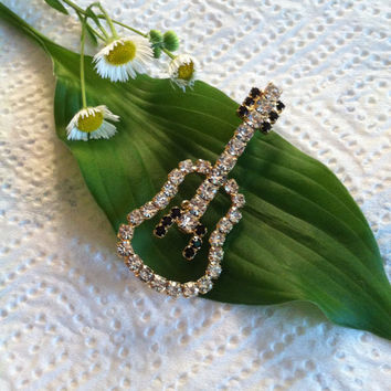 Guitar Pin Rhinestone Acoustic or Classical Shaped Guitar Brooch Rock N Roll Country Music Jewelry Rocker Music Lover Gift Black White 1960s