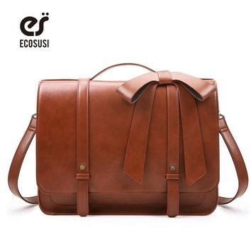 ECOSUSI New Fashion Women PU Leather Handbags Vintage Pu Leather Messenger Bags Shoulder School Laptop Messenger Bags Tote Bag