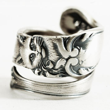 Silver Cat Ring, Sterling Silver Spoon Ring, Kitty Ring, Kitten Ring, Cat Jewelry, Handmade Jewelry, Adjustable Ring, Custom Ring Size 3120