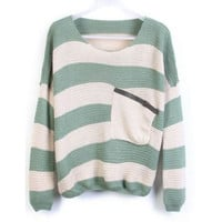 Green Stripes Loose Sweater with Pocket | CozBest:lastest womens fashion clothing,shoes,dresses shop online
