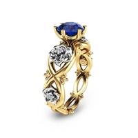 Unique Engagement Ring Blue Sapphire Engagement Ring 14K Two Tone Gold Natural Blue Sapphire Ring