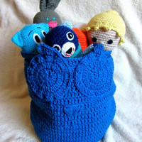 Home Decor, Handmade Original Blue Owl Basket, Crochet Basket, Nice and original gift