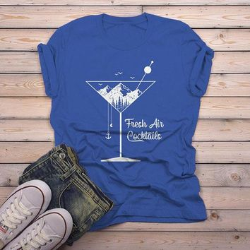 Men's Hipster T Shirt Fresh Air Cocktails Nature Graphic Tee Martini Glass Mountains