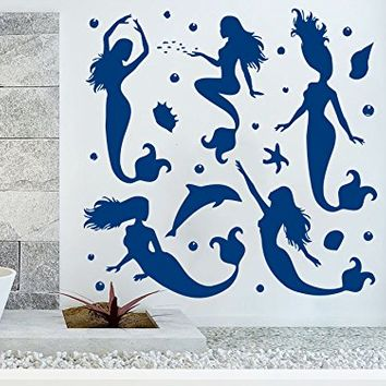 Wall Decal Mermaid Sea Shells Nautical Seaweed Vinyl Sticker Decals Bathroom Home Decor Art Design Interior NS683