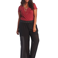 Faux Leather Trim Palazzo Pant | Wet Seal+