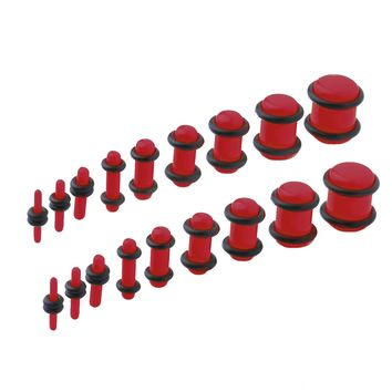 BodyJ4You 18PCS Plugs Stretching Kit 14G-00G Red Ear Gauges Set Acrylic Double O-Ring Expanders