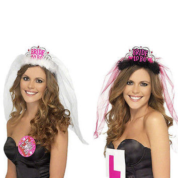 Bride To Be Crown Tiara Veil Bachelorette Girl Night Hen Party Do Fancy Dress HU