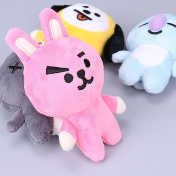 Kpop ARMY BTS BT21 Cute Cartoon Soft Cotton Plush Doll Hanging Ornament Keychain Korean Style Bangtan Boys Pendant Accessories