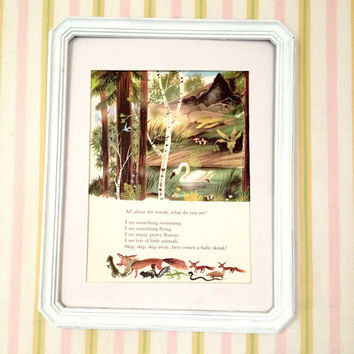 9x11 Vintage All About the WoODs! Nursery Wall Art Large Childrens Illustration. Nursery Book Plate Print, Leonard Weisgard