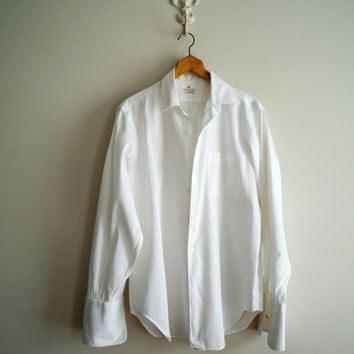 White Boyfriend Shirt, Vintage Mens White French Cuff Shirt