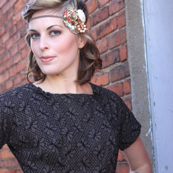 Flapper Girl Rose Garden & Nude Vintage Woodland and Lace Headband 1920s Great Gatsby