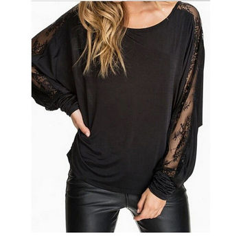 Cutout Lace Long-Sleeve Loose Blouse