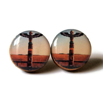 Totem Pole Earrings - native american art inspired nature hipster desert resin handmade studs wood landscape pretty FREE shipping to USA