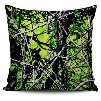Neon Green Camo Pillow
