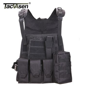 TACVASEN Military Tactical Vest Wargame Body Molle Armor Vest Camouflage Equipment Men Paintball Army Combat Clothes TD-SWT-001