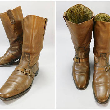 1960's Vintage Brown Leather Buckle Boots / Gold Paisley Liner / Rock Star Boots / Size / Neolite Sole / BF Goodrich Rubber Heels / 9.5