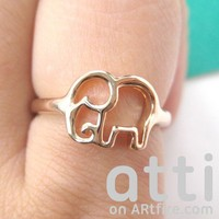 Small Cute Elephant Animal Outline Ring - Size 5 to 8 Available
