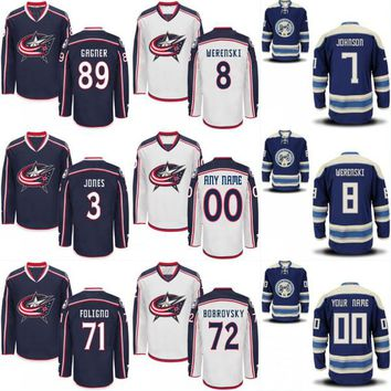 Columbus Blue Jackets Custom Jersey Men's 11 Matt Calvert 13 Cam Atkinson 17 Brandon Dubinsky 20 Brandon Saad 100% Stitched Hockey Jerseys