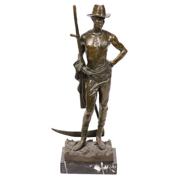 Bronze Farmer Sculpture on Marble Base