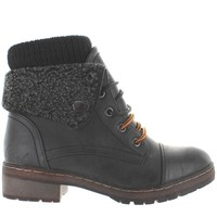 Coolway Bring - Black Sweater-Top Snap Cuff Combat Boot