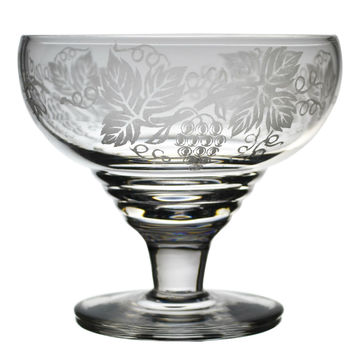3 Frosted Glass Champagne Saucers Vintage English circa 1950