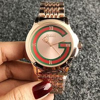 """GUCCI"" Newest Popular Women Men Casual Quartz Watch Couple Wristwatch Rose Golden"