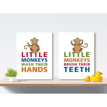 Monkey Home Decor Boy Bathroom Art Prints