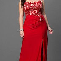 Plus Floor Length Prom Dress with Lace and Sheer Bodice