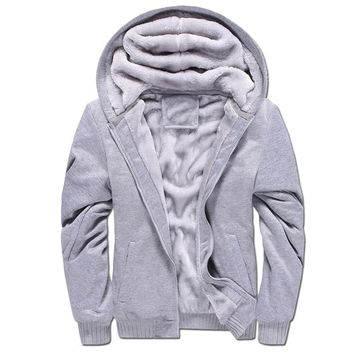 Winter Warm Men's Thick Velvet Hoodie Men Solid Color Hooded Sweatshirt Classic Zipper Fleece Lined Hoodies Jacket Plus Size 5XL