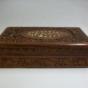 rustic handcarved wooden box . vintage hand carved wooden box . vintage trinket box . vintage wooden storage . india sheesham wooden box
