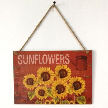 Sunflowers Wooden Plaque Wall Decor