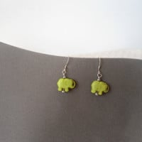 Lime Green Elephant Earrings Hippie Dangle Jewelry Drop Handmade Beaded Hippie Teen Women Girl