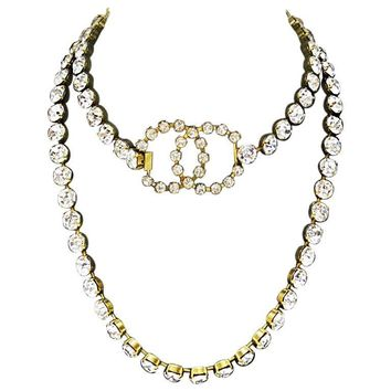 Spring 1995 Chanel Rhinestone CC Necklace/Belt